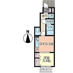 ラクラス富沢南 1階1DKの間取り