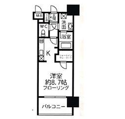 福岡市地下鉄空港線 赤坂駅 徒歩7分の賃貸マンション 13階ワンルームの間取り