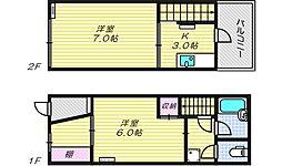 [一戸建] 大阪府大阪市阿倍野区阪南町5丁目 の賃貸【/】の間取り