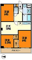 東急東横線 元住吉駅 バス5分 中ノ原住宅前下車 徒歩3分の賃貸マンション 4階3LDKの間取り