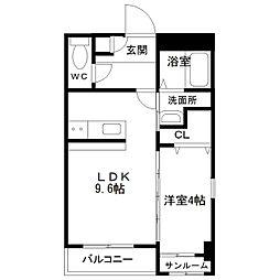 中間島新築マンション[201号室]の間取り