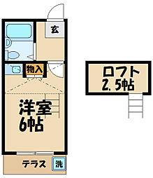 京王線 多磨霊園駅 徒歩6分の賃貸アパート 1階ワンルームの間取り