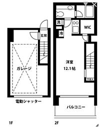 レグラス武蔵新城モーターガラージュ[1階]の間取り