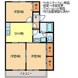 コーポイーストサイドB[2階]の間取り