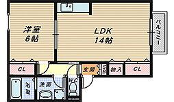 シャンポール参番館[1階]の間取り
