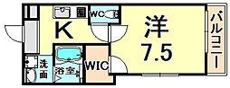 阪急神戸本線 園田駅 徒歩10分の賃貸アパート 1階1Kの間取り