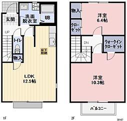 静岡県袋井市春岡の賃貸アパートの間取り