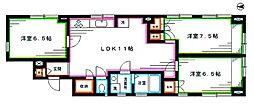 東京メトロ丸ノ内線 中野新橋駅 徒歩2分の賃貸マンション 4階3LDKの間取り