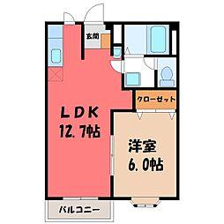 茨城県筑西市関本上の賃貸アパートの間取り