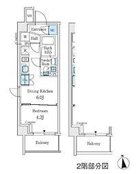 東京メトロ丸ノ内線 中野坂上駅 徒歩3分の賃貸マンション 7階1DKの間取り