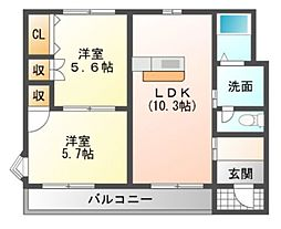 愛知県岡崎市東大友町字郷東の賃貸アパートの間取り