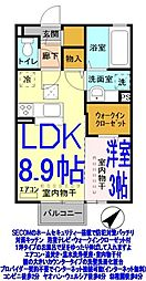 栃木県栃木市片柳町2丁目の賃貸アパートの間取り
