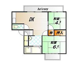 兵庫県神戸市西区南別府3丁目の賃貸アパートの間取り