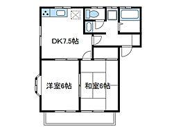 神奈川県座間市南栗原6の賃貸アパートの間取り
