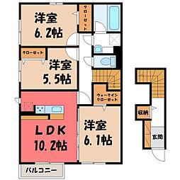 JR日光線 鹿沼駅 徒歩10分の賃貸アパート 2階3LDKの間取り