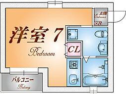 ワコーレ須磨衣掛[2階]の間取り