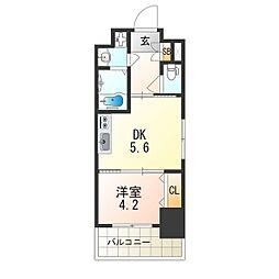 レオンヴァリエ大阪ベイシティ 9階1DKの間取り
