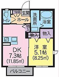 シャーメゾン桜木町 1階1LDKの間取り