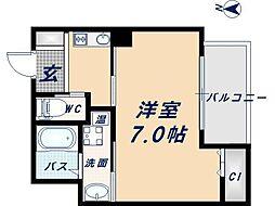 Osaka Metro四つ橋線 岸里駅 徒歩3分の賃貸マンション 8階1Kの間取り