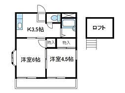 神奈川県海老名市国分南3丁目の賃貸アパートの間取り