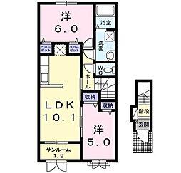 新潟県新発田市中曽根町1丁目の賃貸アパートの間取り