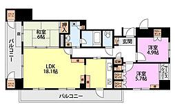新潟県新潟市中央区紫竹山6丁目の賃貸マンションの間取り