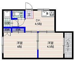 福岡県福岡市早良区藤崎1丁目の賃貸アパートの間取り