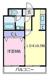 大阪府羽曳野市高鷲9の賃貸アパートの間取り