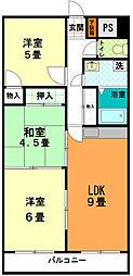 東京都八王子市中野上町1丁目の賃貸マンションの間取り