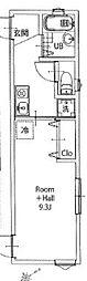 JR山手線 大崎駅 徒歩5分の賃貸アパート 2階1Kの間取り