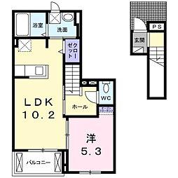 都営新宿線 瑞江駅 徒歩16分の賃貸アパート 2階1LDKの間取り