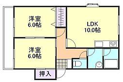 岡山県岡山市南区植松の賃貸アパートの間取り