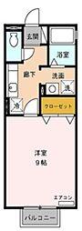 愛知県岡崎市赤渋町字寺前の賃貸アパートの間取り
