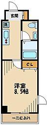 JR南武線 武蔵新城駅 徒歩15分の賃貸マンション 5階1Kの間取り