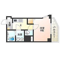 Osaka Metro中央線 阿波座駅 徒歩9分の賃貸マンション 7階1Kの間取り