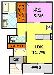 JR水戸線 結城駅 徒歩28分の賃貸アパート 1階1LDKの間取り