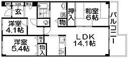 ユニハイム寝屋川[3階]の間取り