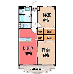 リリアコート 7階2LDKの間取り