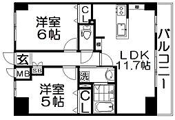 M'PLAZA香里六番館 5階2LDKの間取り