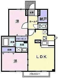静岡県静岡市駿河区下川原南の賃貸アパートの間取り