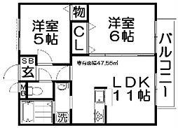 大阪府枚方市香里ケ丘10丁目の賃貸アパートの間取り