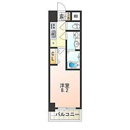 ララプレイス大阪 ウエストゲート 4階1Kの間取り