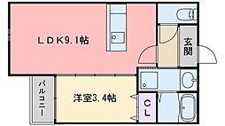 TAKON石丸 1階1LDKの間取り