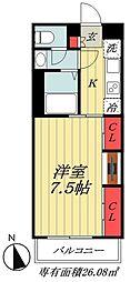 JR総武線 市川駅 徒歩12分の賃貸マンション 2階1Kの間取り