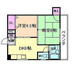 大阪府大阪市福島区大開1丁目の賃貸マンションの間取り