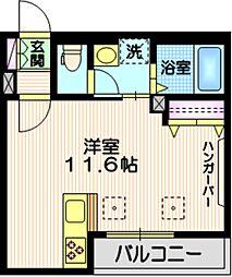 東京メトロ南北線 白金台駅 徒歩5分の賃貸マンション 2階ワンルームの間取り