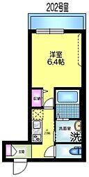 JR総武線 亀戸駅 徒歩4分の賃貸マンション 2階1Kの間取り