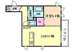 大阪府大阪市北区大淀中2丁目の賃貸アパートの間取り