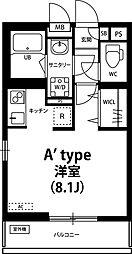リブリ・Crest Yanagisaki 2階1Kの間取り