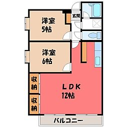 栃木県下都賀郡壬生町おもちゃのまち1丁目の賃貸アパートの間取り